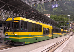 WAB Wengernalbahn Class BDhe 4/8 3-section articulated No.145 at Wengen Station, Switzerland on 12 Aug 2016