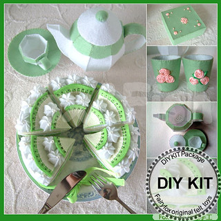 Kiwi cake,box,tea pot DIY KIT Package