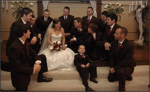Bride groom groomsmen wedding