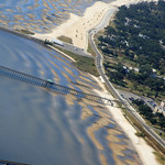 Aerial shot of sandbars near Bay St.Louis, MS