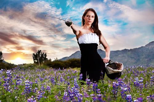 sunset mountains senior losangeles foil helmet carina highschool sword fencing lupine strobist