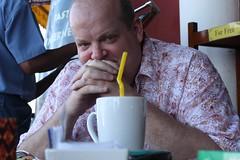 Toby in cafe in Phnom Penh