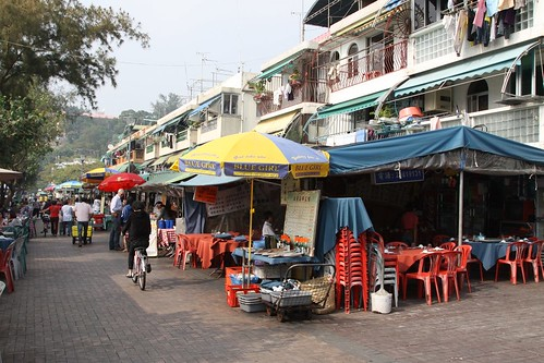 Seafood restaurants lining the waterfront in Cheung Chau