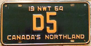 NORTHWEST TERRITORIES 1964 ---DEALER PLATE #D5