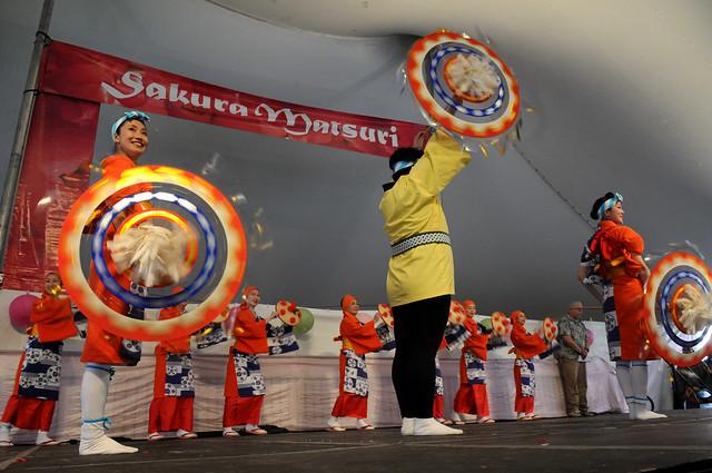 The Japanese Folk Dance Institute of New York performs on the Cherry Esplanade Stage during Sakura Matsuri 2011. Photo by Mike Ratliff.