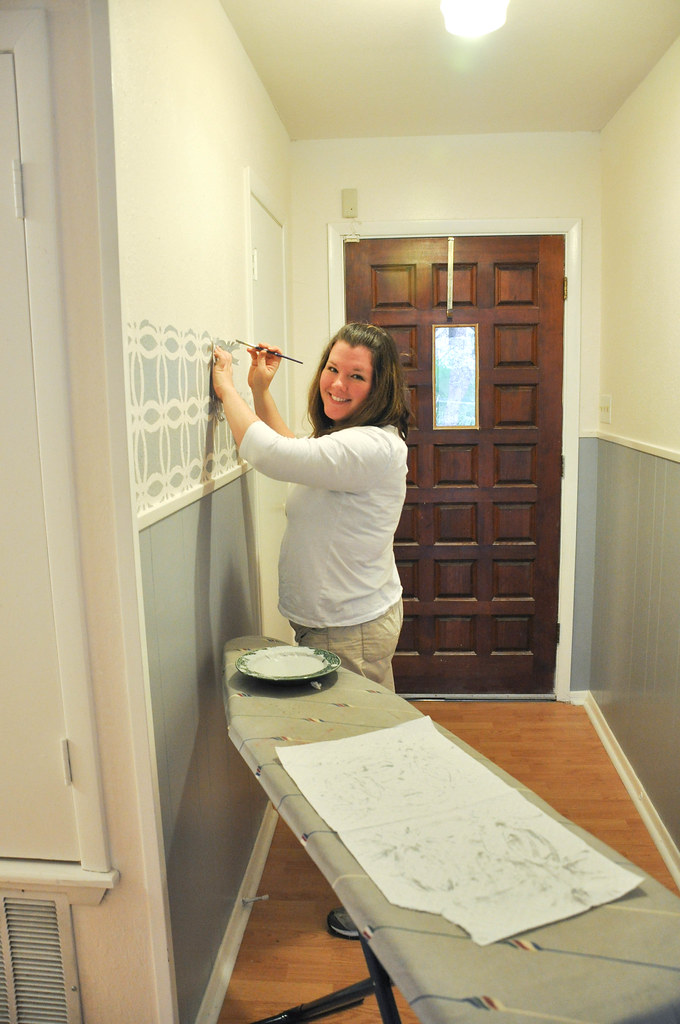 Difference Between Foyer And Mudroom : In between laundry front entry makeover with stenciling