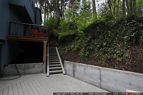 lower deck progress   cement retaining walls