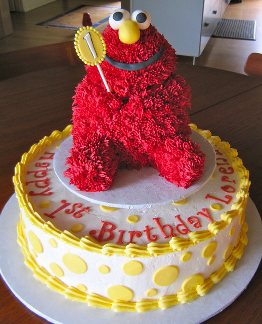 "14"" Vegan Red Velvet 1st Birthday Cake w/Removable Elmo Smash Cake ..."