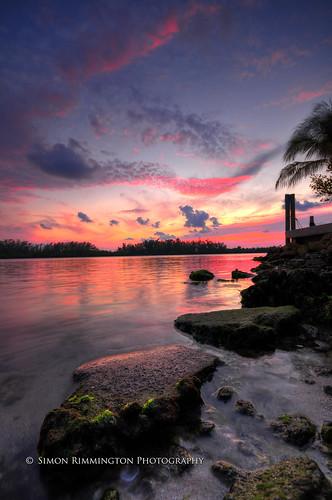sunset reflections rocks florida vivid hdr