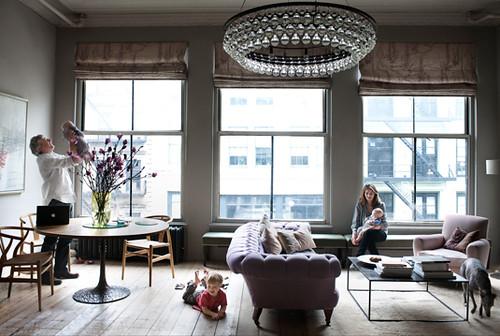Harriet Mawell / Andrew Corrie  / Elle Decor {loft living room}