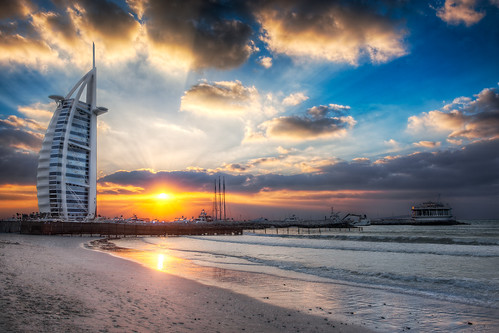 Burj Al Arab Sunset From Jumeirah Beach - (HDR Dubai, UAE)