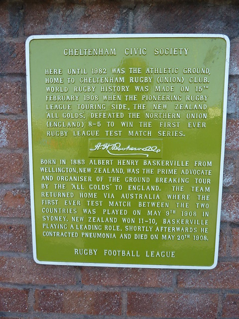 Photo of New Zealand All Golds, Cheltenham Rugby Club, and Albert Henry Baskerville green plaque