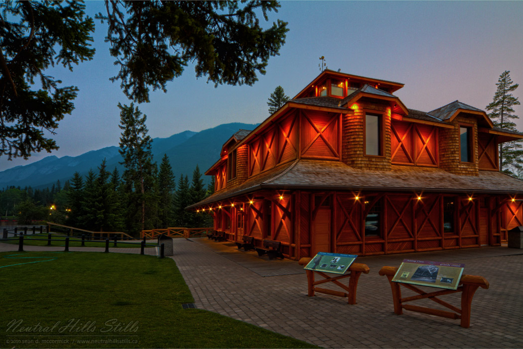 Rear View of the Banff Museum and Historical Site at Dusk