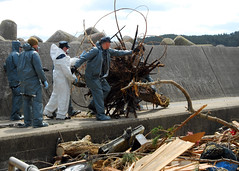 OSHIMA ISLAND (April 3, 2011) Sailors attached to the forward-deployed amphibious assault ship USS Essex (LHD 2) clean up debris from a harbor on Oshima Island, Japan. (U.S. Navy photo by Mass Communication Specialist 2nd Class Eva-Marie Ramsaran)