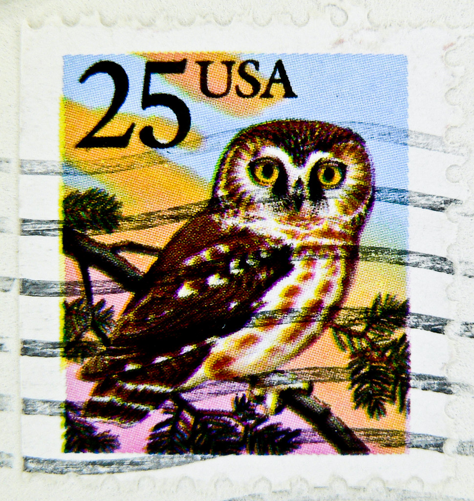 Stamp USA 25c Us Postage Owl 25 Cent Eule Kauz Sello Buho