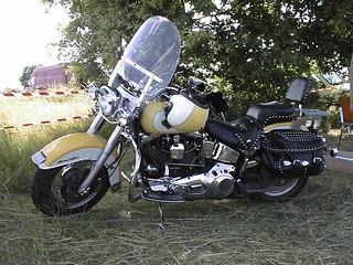 Harley-Davidson Heritage Softail with helmet