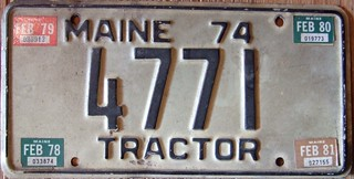 MAINE 1974 with 78, 79, 80 and 81 STICKERS ---TRACTOR LICENSE PLATE