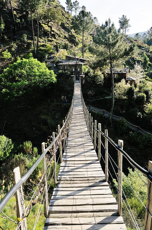 wooden suspension bridge at Foz d'Égua, Central Portugal