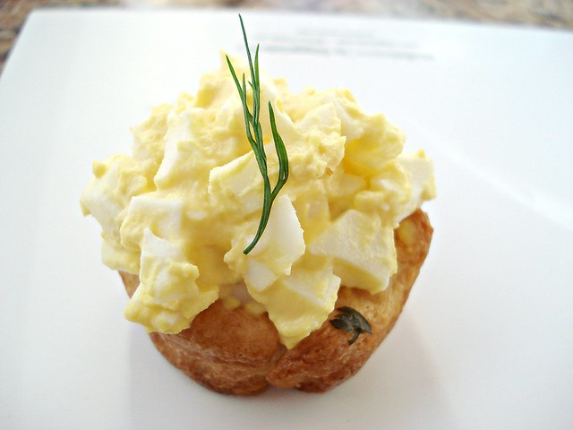 Deviled Egg Salad with Herb and Garlic Croissant Cup