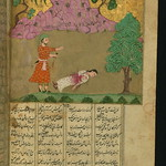 Illuminated Manuscript, Collection of poems (masnavi), A man kills his mother, who has committed adultery, Walters Art Museum Ms. W.626, fol. 64b