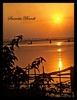 sunset in the mighty Brahmaputra River