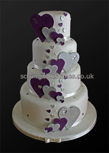 Wedding Cake 746 Purple Silver Hearts