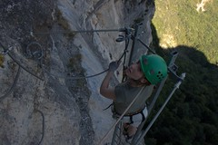 Helen on the overhanging ladder Image