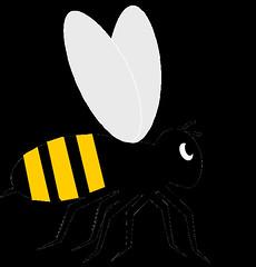 Bee clip art, cute style lge 11cm long