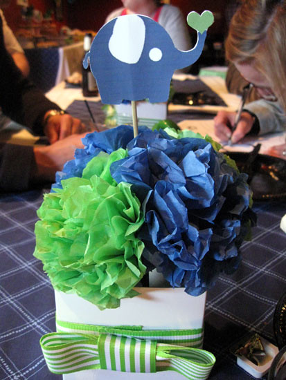 Elephant centerpiece the baby shower had an