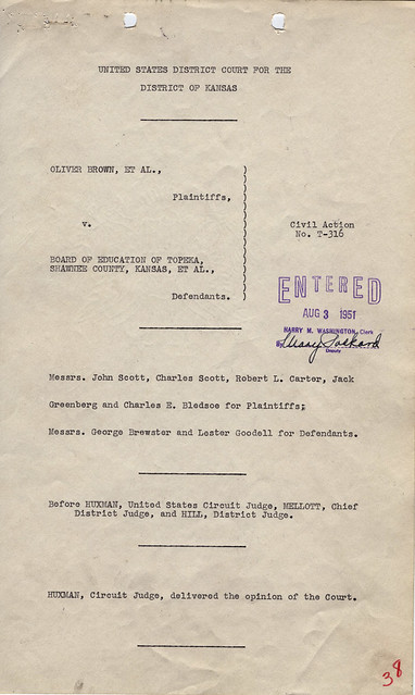 Opinion in Brown v. Board of Education of Topeka, 08/31/1951, Page 1 of 2 from Flickr via Wylio