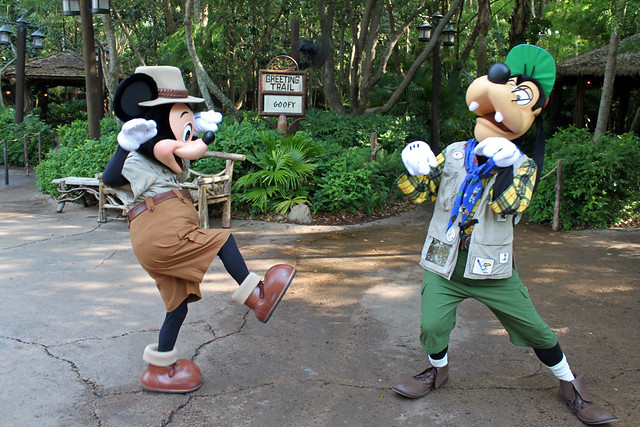 Mickey shows Goofy some martial arts!