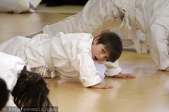 nick doing push ups during his karate exam