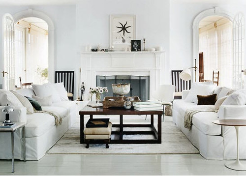 Thomas O'Brien {white rustic modern new traditional living room}