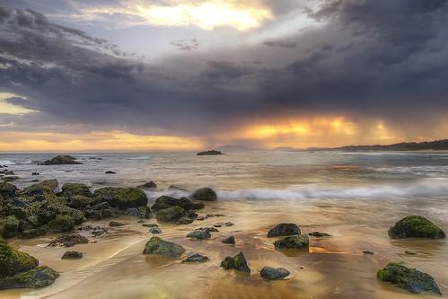 ocean sunset sea storm beach rock australia newsouthwales portmacquarie