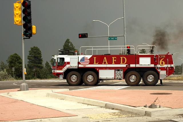 Los Alamos Fire Department deploys state-of-the-art equipment--and highly trained personnel--to help fight Las Conchas Fire.  Photo by Jeff Berger