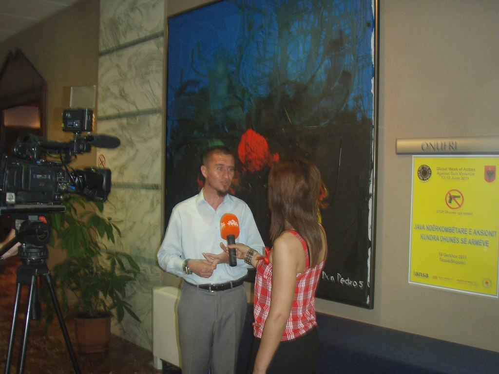 Week of Action Against Gun Violence 2011 - Journalist interviewing speaker in Tirana - Albania
