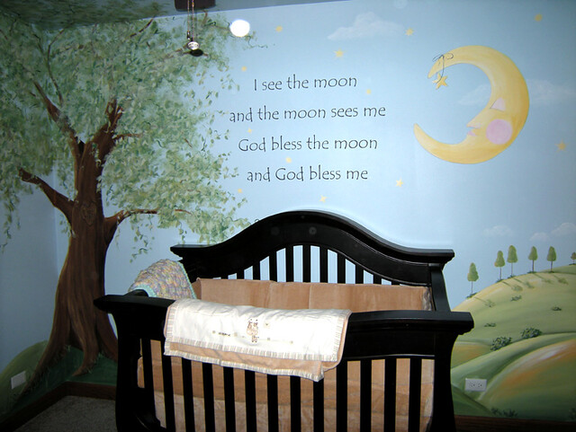 Tree moon quote baby nursery mural flickr photo for Baby nursery tree mural