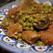 Spring tajine with veal, artichokes and green peas