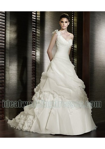 Organza One Shoulder Strap Sweeetheart Neckline Ruffled Flower Decoration Elegant New Luxurious 2011 Wedding Gown WD-0554