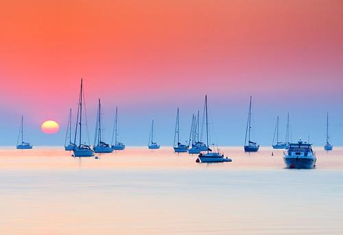 ocean sunset sea seascape water beautiful sunrise boats calm dorset sen purbeck studland jurassiccoast
