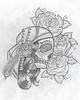 Old school skull n rose