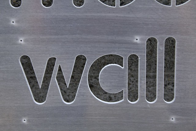 """Word Wall Panel Fresh From The WaterJet - """"wall"""" Closeup"""