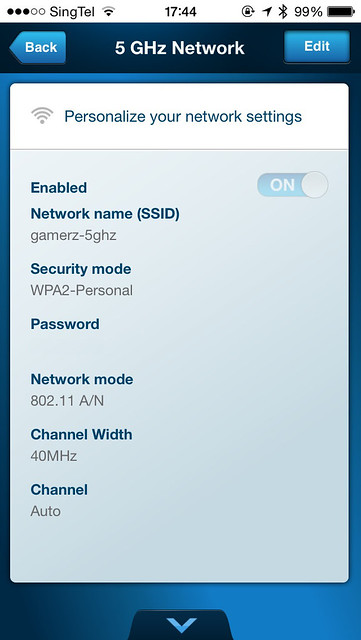 Linksys Smart Wi-Fi iOS App - 5GHz Network