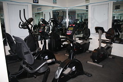 Exercise machines at HOPEFitness in North Bellmore, N.Y.