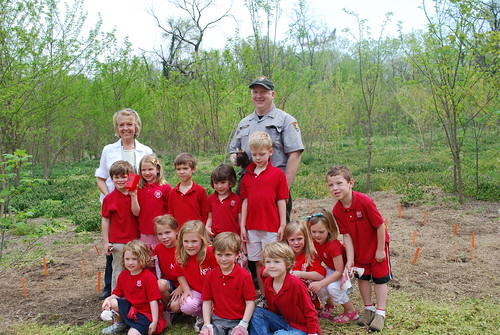 Buddy Bison and students on a field trip in Daingerfield Island.