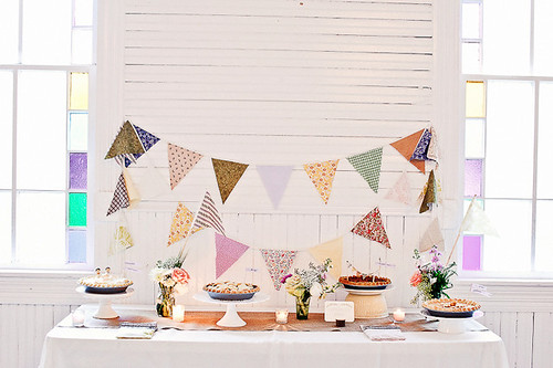 pies and triangle bunting at mercury hall