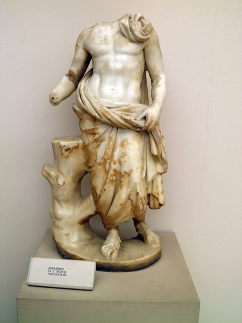 Marble statue of Greek Roman god Asklepios (Asclepius), 2nd century, Ephesus Museum, Selçuk, Turkey