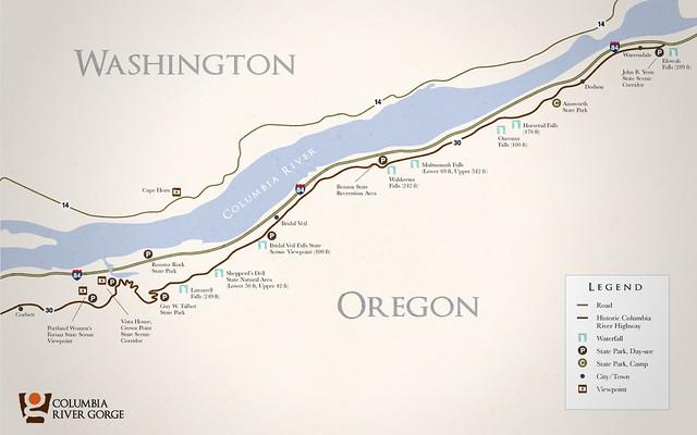 Similiar Map Of Falls In Columbia River Gorge Keywords