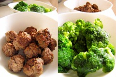 meal(1.0), broccoli(1.0), vegetable(1.0), fried food(1.0), produce(1.0), food(1.0), dish(1.0), cuisine(1.0), meatball(1.0),