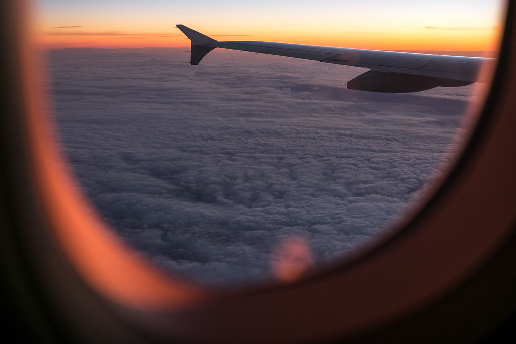 Sunrise from the plane, Travel photography picture